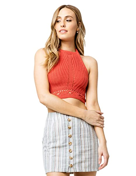 66828c3d4d14e Image Unavailable. Image not available for. Color  Sky and Sparrow Crochet  Crop Rust Halter Top ...