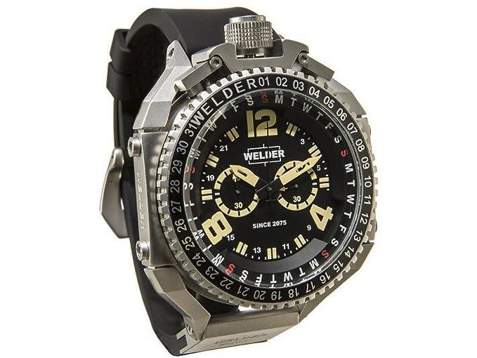 Cronógrafo de cuarzo para hombre-reloj soldador de caucho K39 2404: Amazon.es: Relojes