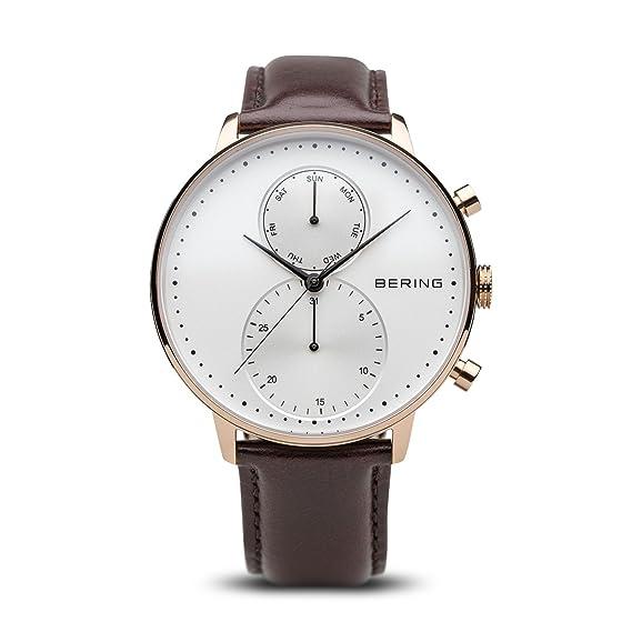 Bering Reloj Cronógrafo para Hombre de Cuarzo con Correa en Cuero 13242-564: Amazon.es: Relojes