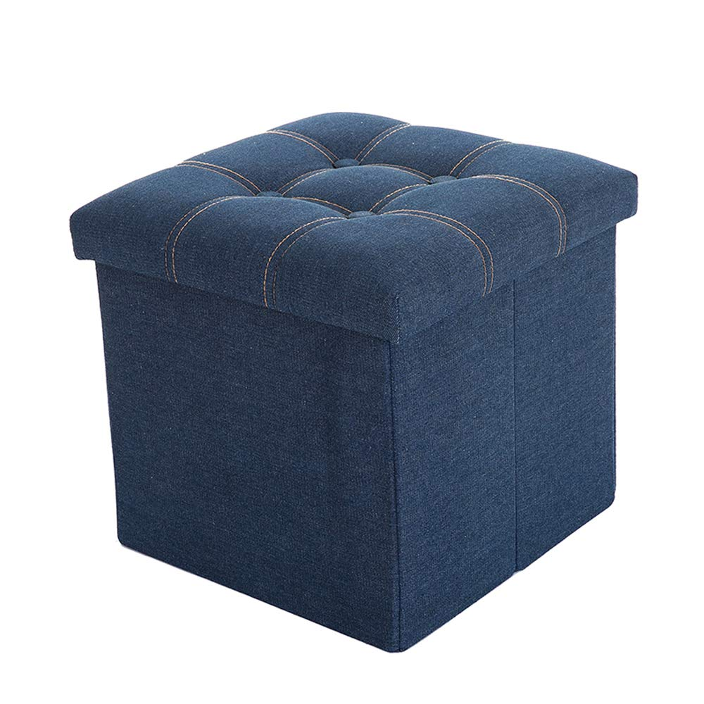 WALTSOM Folding Storage Ottoman, Cube Footrest Seat Stool Toy Chest with Button Tufted Lid, Soft Padding for Home and Office, 15''X15''x15'' (Navy Blue) by WALTSOM