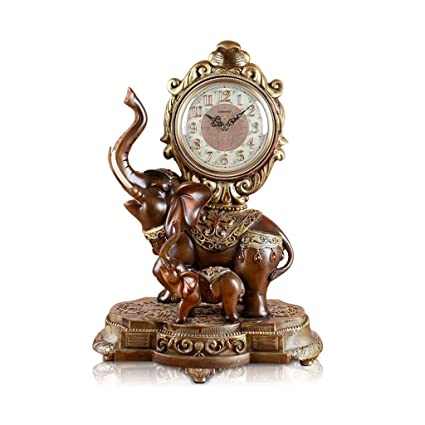 Family Fireplace Clocks Retro Double Elephant Table Clock, Silent Resin Mute for Living Room Wall