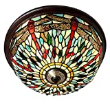 DSHBB Ceiling Lights - 16 inch Red Dragonfly Tiffany Style Pendant Ceiling lamp Stained Glass Ceiling lamp with lampshade - for Living Room - Hallway - etc - E27 40w