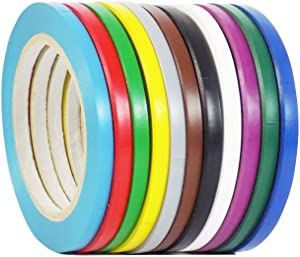 WOD VTC365 Rainbow Pack Vinyl Pinstriping Tape, 1/4 inch x 36 yds. (Pack of 12) For School Gym Marking Floor, Crafting, Stripping Arcade1Up, Vehicles and More (Available in Multiple Sizes & Colors)