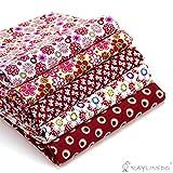 "RayLineDo 5X Different Pattern Red 100% Cotton Poplin Fabric Fat Quarter Bundle 46 x 56cm ( Appox 18"" x 22"") Patchwork Quilting Fabric"