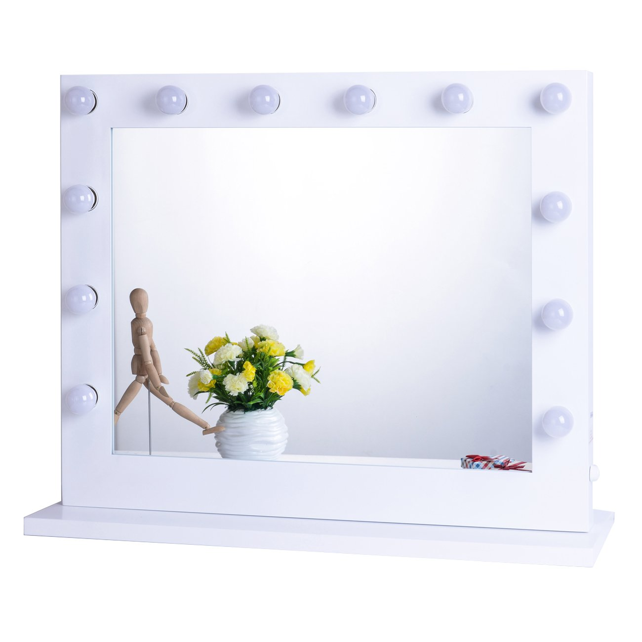 Chende Hollywood Lighted Makeup Vanity Mirror Light, Makeup Dressing Table Vanity Set Mirrors with Dimmer, Tabletop or Wall Mounted Vanity, 14 LED Light Bulbs Included (White) by Chende