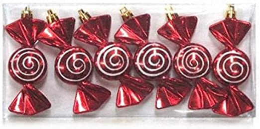 Queens of Christmas 6pk Line Design 6 Pack Red//White Striped Ball Ornament 4,