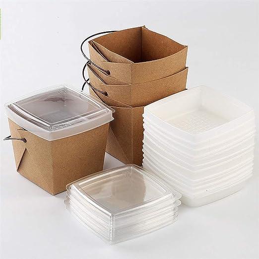 Desechable Caja de almuerzo portátil doble de papel Kraft - Papas fritas Bandeja de embalaje para llevar con compartimiento superior e inferior de pollo frito [paquete de 100]: Amazon.es: Hogar