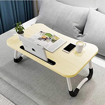 31x20inch Adjustable Laptop Table Notebook Stand Portable Standing Bed Desk Foldable Sofa Breakfast Tray Mobile Desk fold Lift Write Learn Bedside Small Desk-H 80x50cm