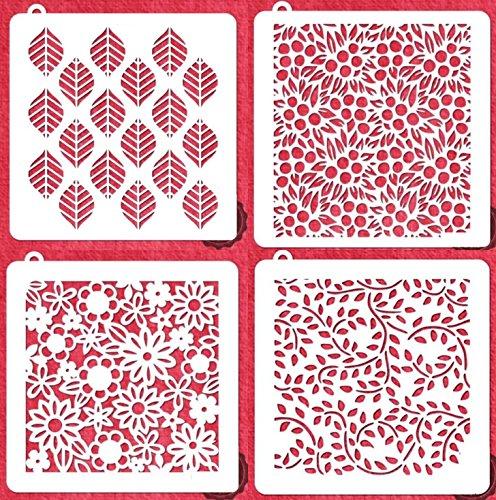 World Cursive Alphabet Set (Flower Cookie Stencil - American Confections - Leaf, Vine, Floral - Set of 4)