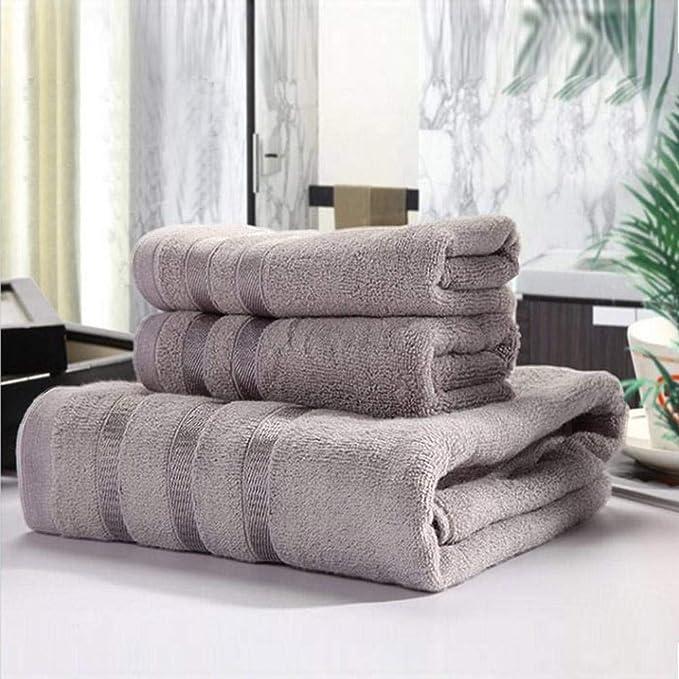 Su-luoyu Algodón Fibra de bambú Toalla de baño Conjunto de Tres Conjuntos Toalla de baño Simple Suave y cómodo Absorbente de Humedad: Amazon.es: Hogar