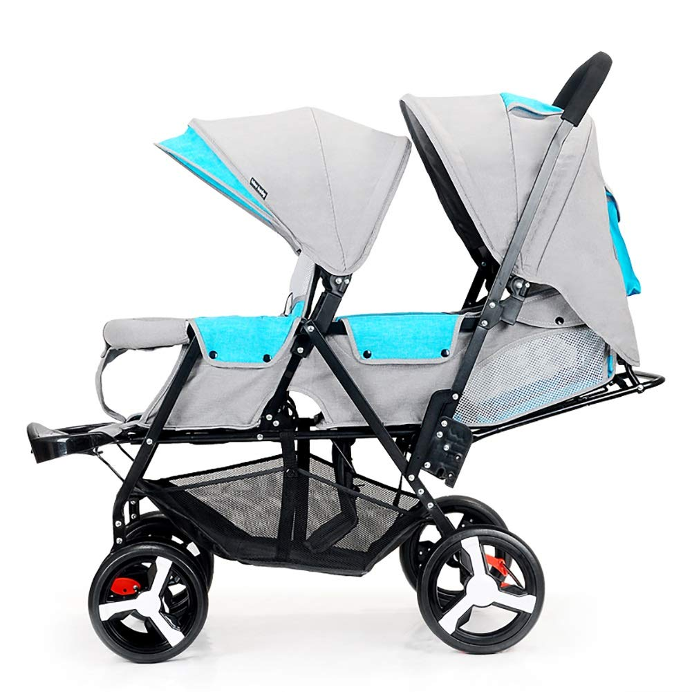 Double Infant Trolley, Twin Baby Stroller Lightweight Folding Double Two-Seater Baby Carriage Off-Road Version, Explosion-Proof Wheels (Color : Blue+Gray) by Children's trolley