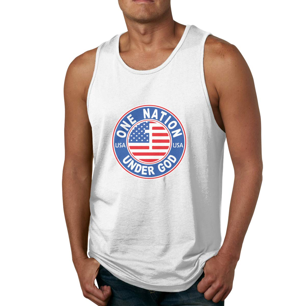 YASEFS Geek Designed T Shirt America One Nation Under God Stank Top Shirt for Male White