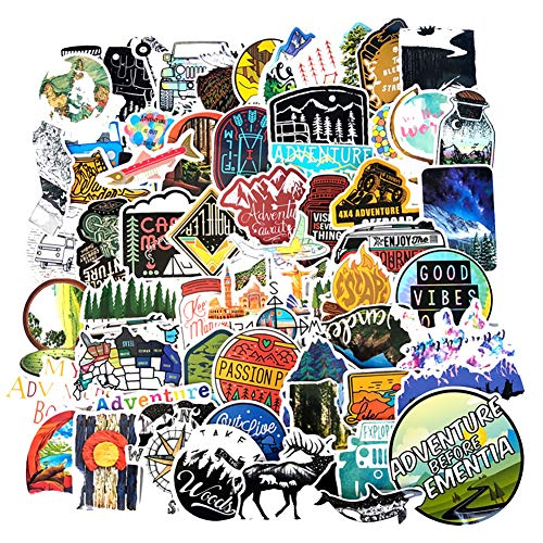 Honch Wilderness Nature Stickers Outdoors Hiking Camping Travel Adventure Stickers Pack 65 Pcs Suitcase Stickers Vinyl Decals for Car Bumper Helmet Luggage Laptop Water (Best Hiking Stickers)