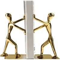 Fasmov Heavy Duty Stainless Steel Man bookends Nonskid Bookends Art Bookend,1 Pair(Glod)