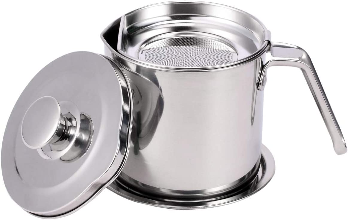 EAMATE 304 Stainless Steel Oil Strainer, 1.2L/1.3Qt Oil Bacon Grease Container Oil Storage Can with Fine Mesh Strainer for Kitchen Frying Oil