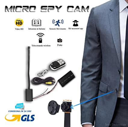 Micro cámara full HD - Cámara Mini Spy con cable de 18 cm con sensor de movimiento ...