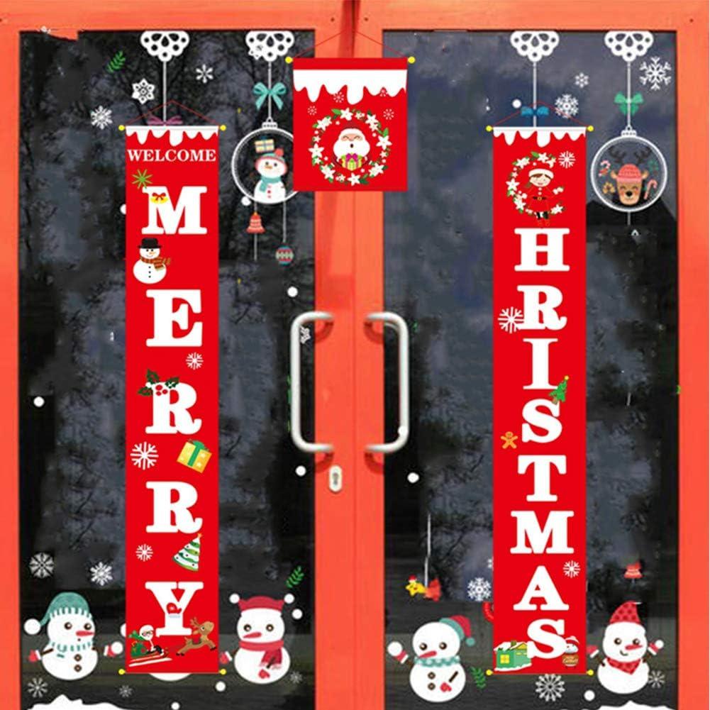 Decoraciones para Puertas de Navidad porche signo bienvenida y feliz Navidad colgante signo feliz feliz Navidad estandarte de Nuevo a/ño Copo de nieve Navidad ventana decoraci/ón para vacaciones casa