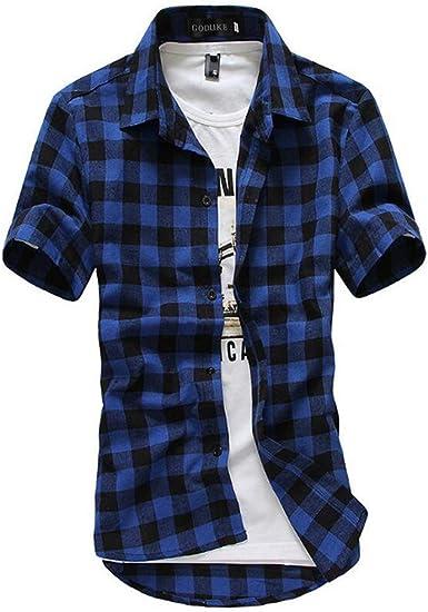 Huateng Camisa de Manga Corta a Cuadros para Hombre Camisa de ...