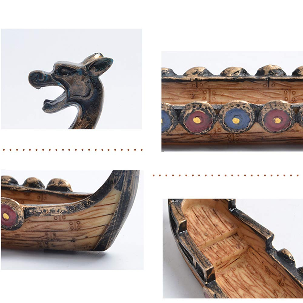 YUMUO Resin Incense Stick Burner Set,Viking Ships Stick Incense Holder with Craft Catcher Ash Catcher Ideal for Yoga Home Office Party Hx1304 by YUMUO (Image #5)