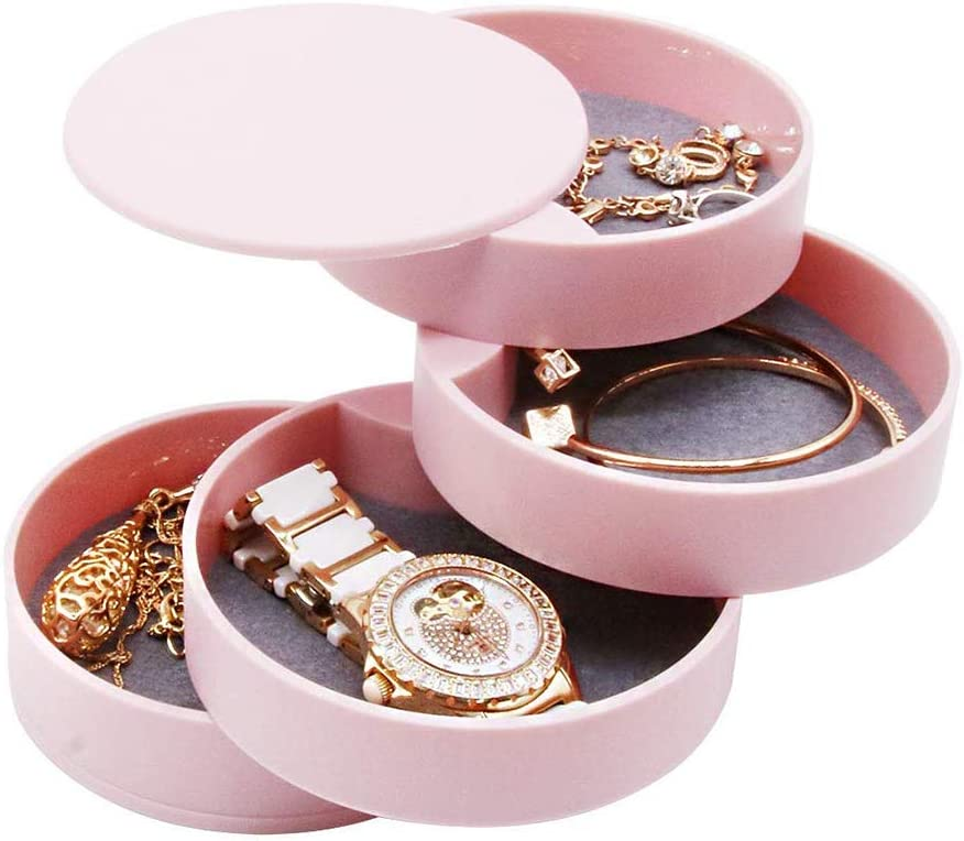 AINAAN 4-Tier Jewelry Organizer Box Tower Rings Earrings Storage Case Holder Necklace Bracelet Display Tray 360 Rotating Showcase, 2019, Pink