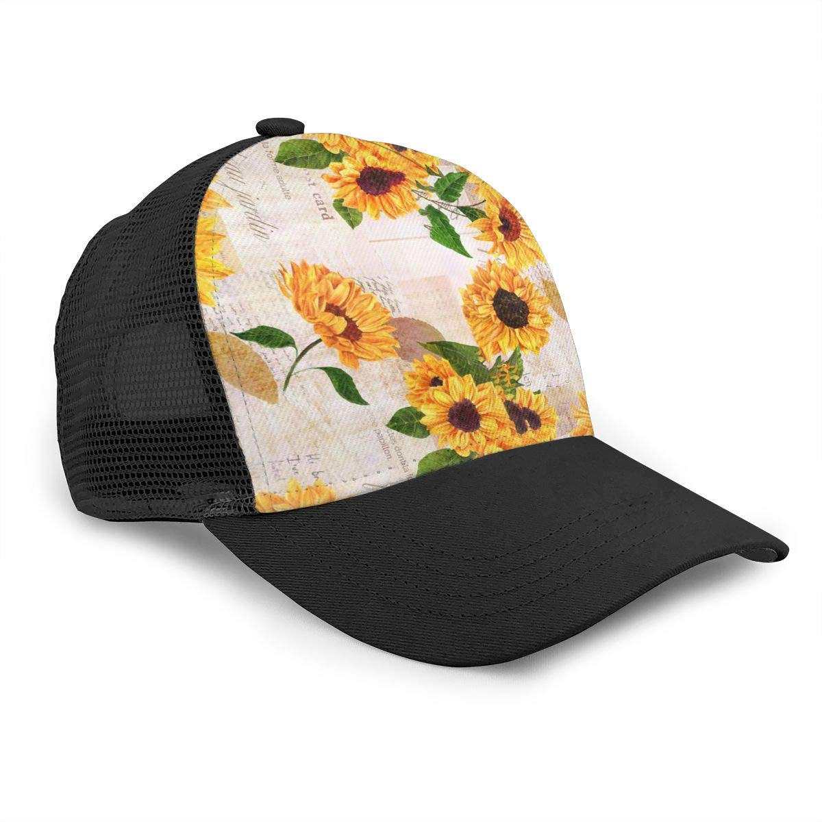 Mens and Womens Sunflowers and Words Flat Baseball Cap Solid Dad Hat for Unisex