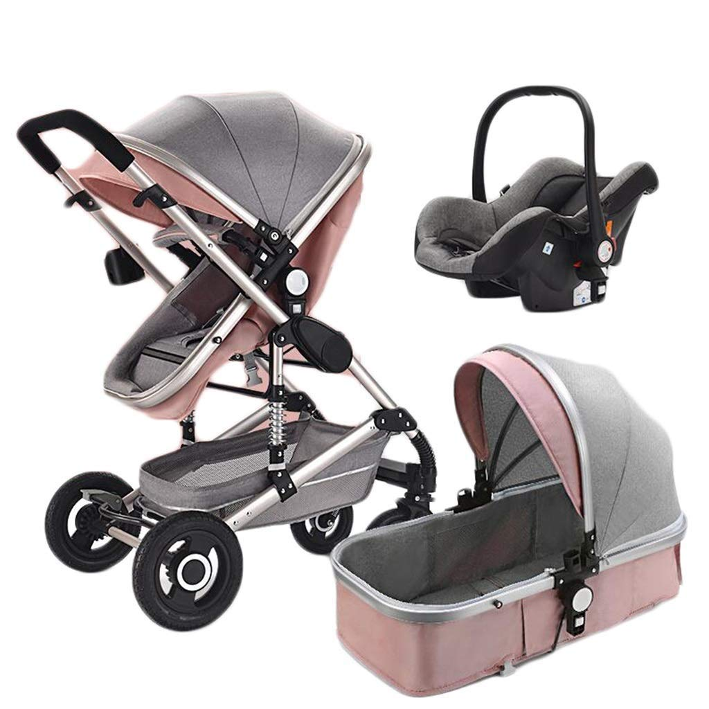 LLYU Stroller and Safety seat Multi-Function Two-Way High Landscape Sitting and Lying Folding Portable Shockproof Travel Baby Carriage (Color : Pink)
