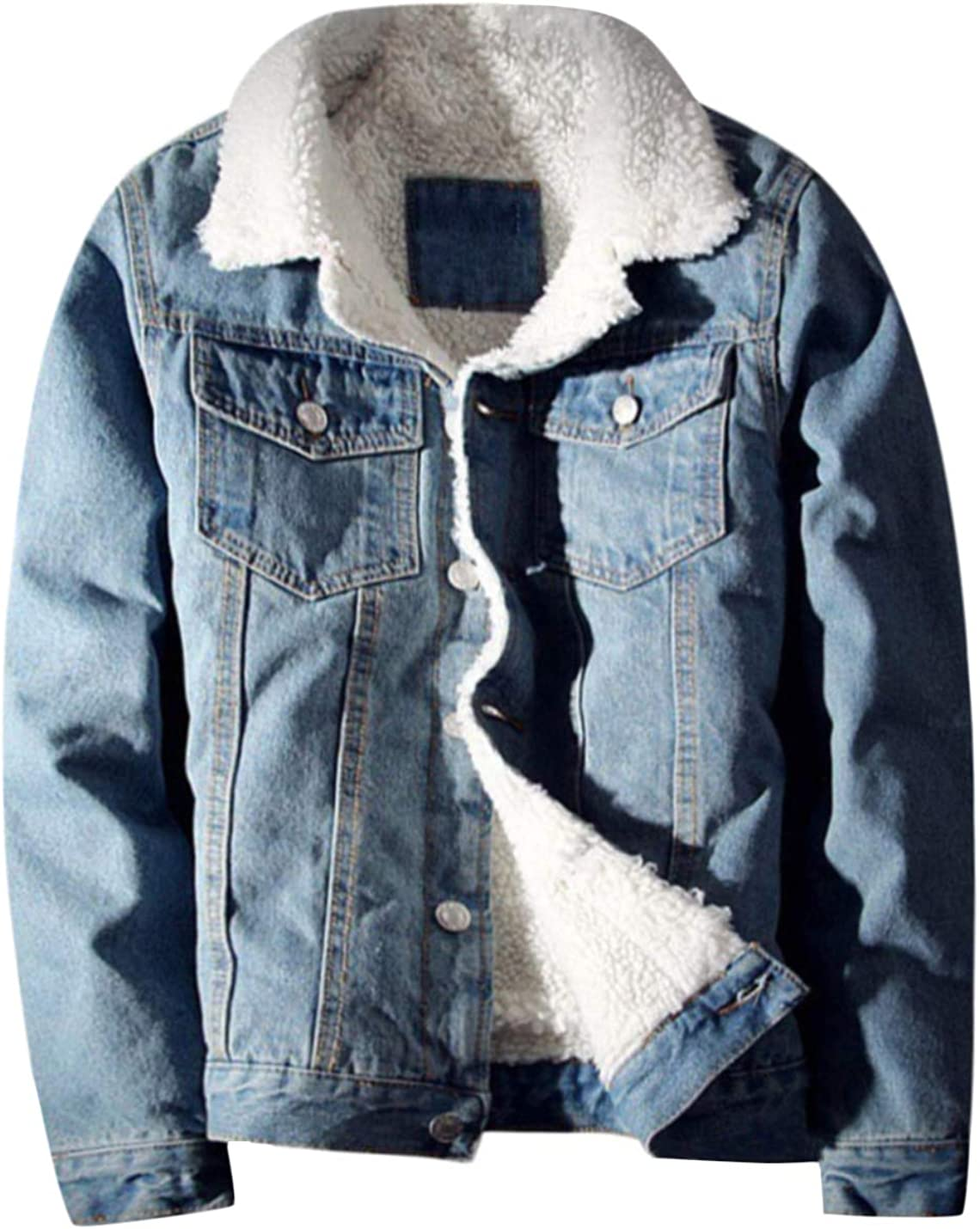 Springrain Men's Winter Sherpa Lined Denim Jacket Windbreaker Trucker Jacket at  Men's Clothing store