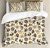 Kids 4 Piece Bedding Set Queen Size, Soccer Playing Lions Horses Chickens Piegons and Koalas Cartoon Sports Pattern, Duvet Cover Set Quilt Bedspread for Childrens/Kids/Teens/Adults, Beige Multicolor