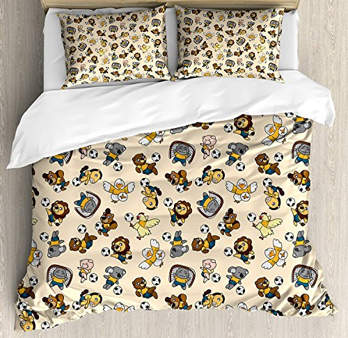 Kids 4 Piece Bedding Set Queen Size, Soccer Playing Lions Horses Chickens Piegons and Koalas Cartoon Sports Pattern, Duvet Cover Set Quilt Bedspread for Childrens/Kids/Teens/Adults, Beige Multicolor by Anzona