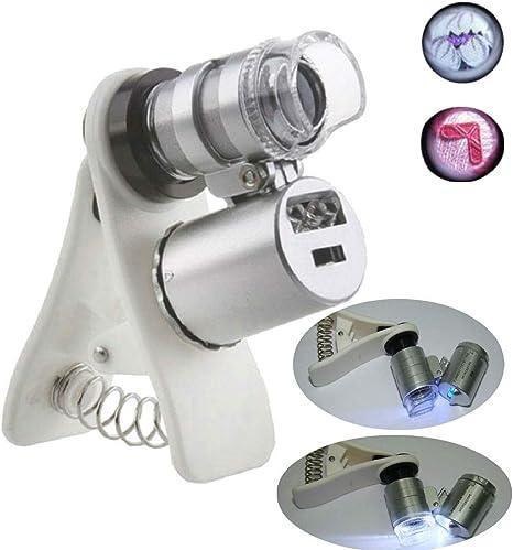 Hangang - Microscopio portátil con Lupa Plateada de Bolsillo ...