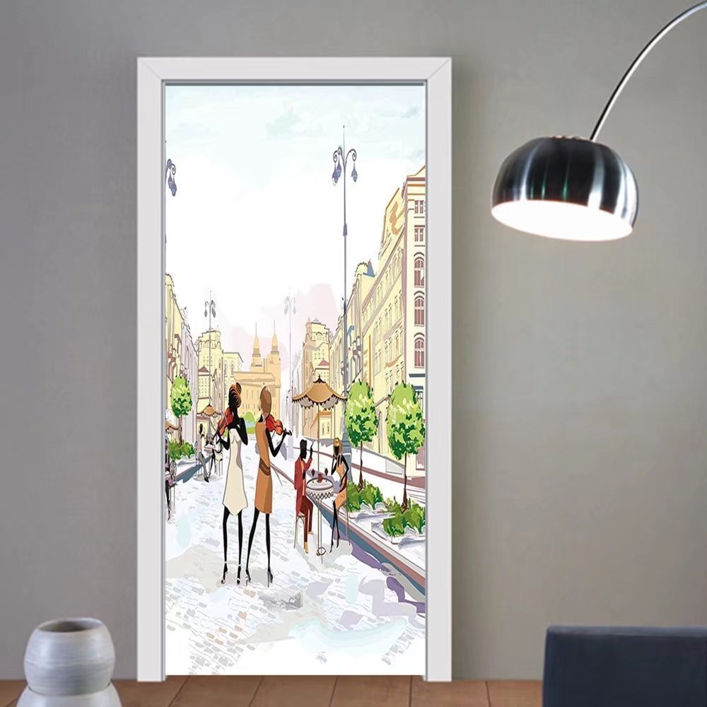 Gzhihine custom made 3d door stickers Modern Old Town with Street Musician Women Playing Violin Streets European Groovy Graphic Multicolor For Room Decor 30x79