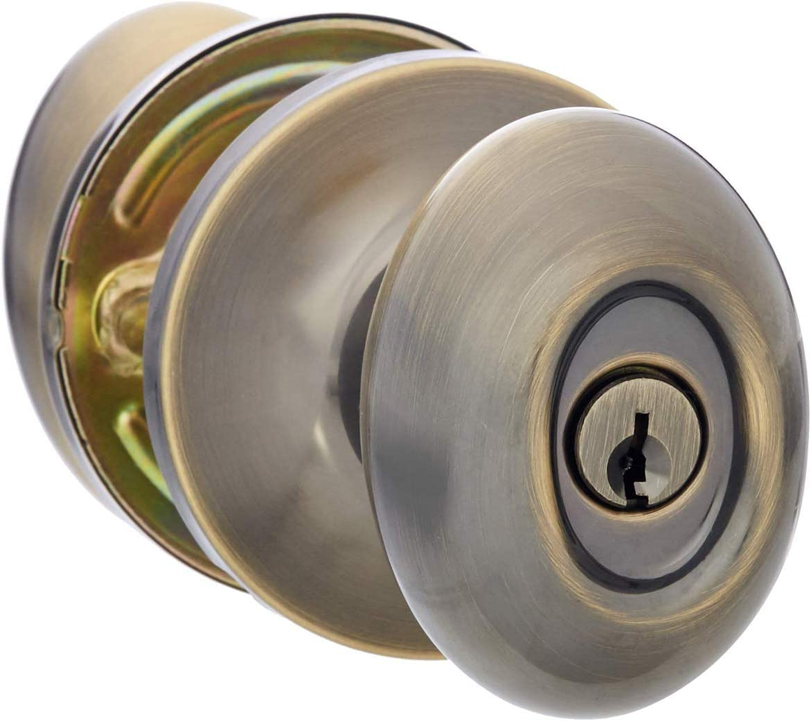 AmazonBasics Exterior Door Knob With Lock, Oval Egg, Antique Brass