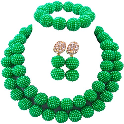 Green Bead Clip Earrings - laanc Womens 2 Rows Colour Imitation Pearl Plastic Ball African Beads Nigerian Gift Wedding Jewelry Sets (Green)