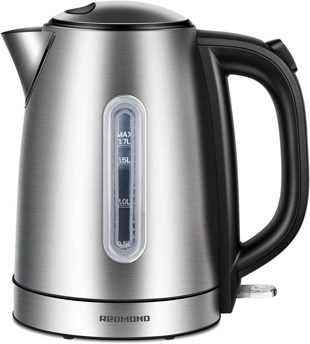 REDMOND Electric Kettle, 1.7L Stainless Steel Tea Kettle with 1500W Fast Boiling Heater, Cordless Hot Water Kettle BPA-Free with Auto Shut-Off Boil Dry Protection, EK005