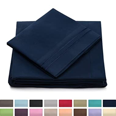 Queen Size Bed Sheets - Navy Blue Luxury Sheet Set - Deep Pocket - Super Soft Hotel Bedding - Cool & Wrinkle Free - 1 Fitted, 1 Flat, 2 Pillow Cases - Dark Blue Queen Sheets - 4 Piece