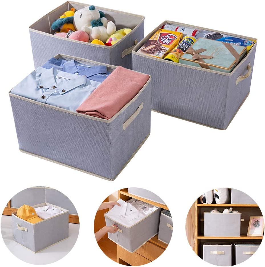 FHSQX Storage Bins Large:14.4 x 10 x 8.3-Inch Collapsible Rectangle Nursery Storage for Shelf Closet Organizer Bins with Handle Canvas Toy Open Storage Baskets 3-Pack