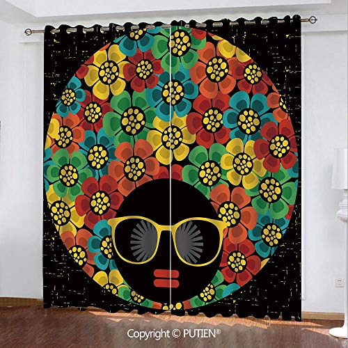 (Satin Grommet Window Curtains Drapes [ 70s Party Decorations,Abstract Woman Portrait Hair Style with Flowers Sunglasses Lips Graphic Decorative,Multicolor ] Window Curtain for Living Room Bedroom Dorm)