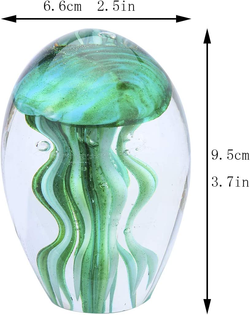 Handmade Jellyfish Paperweight Hand blown Sea Animal glass Figurine Home Decor