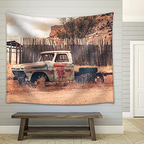 Antique Clunker Pickup Truck Abandoned Somewhere in Arizona Vintage Transportation Fabric Wall