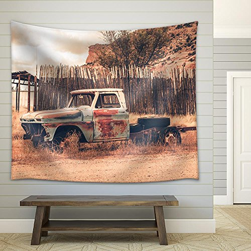 (wall26 - Antique Clunker Pickup Truck Abandoned Somewhere in Arizona. Vintage Transportation - Fabric Wall Tapestry Home Decor - 68x80 inches )