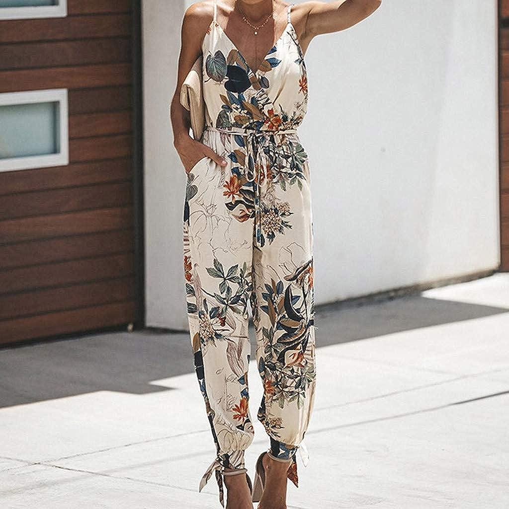Italily Tuta Donna Eleganti con Pantaloni Lungo Vestito Abito Jumpsuit Estate Donna Scollo a V Pagliaccetto Pantaloncini Senza Maniche Jumpsuit Spiaggia Partito Tuta Mini Shorts Bodycon Playsuit
