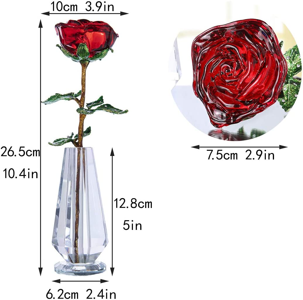 H D Red Crystal Rose Flowers Figurine Ornament with Vase