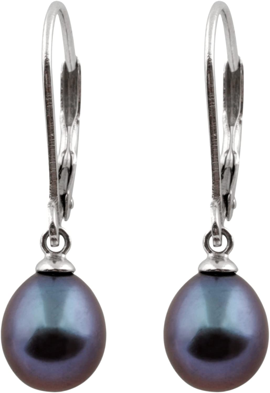 Splendid Pearls 925 Sterling Silver 8mm Genuine Pearls Freshwater Cultured Lever-back Dangling Earrings for Women