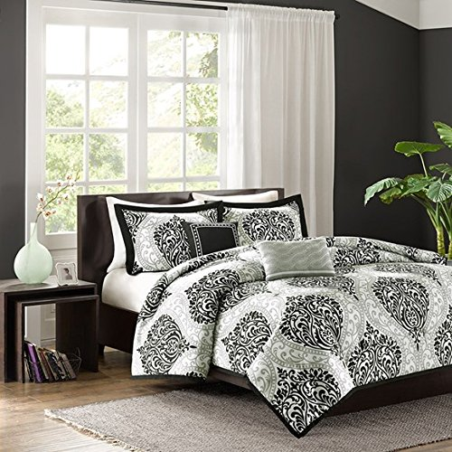 Intelligent Design - Senna -All Seasons Comforter Set -5 Piece - Black/Grey - Damask Pattern - King/California King Size - Includes 1 Comforter, 2 King Shams, 2 Decorative Pillows - Ideal For Guest Room (Bedding Sets Grey Size King)