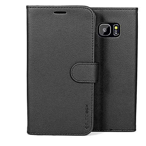 Galaxy S7 Edge Case, BUDDIBOX [Wallet Case] Premium PU Leather Wallet Case with [Kickstand] Card Holder and ID Slot for Samsung Galaxy S7 Edge, (Black)