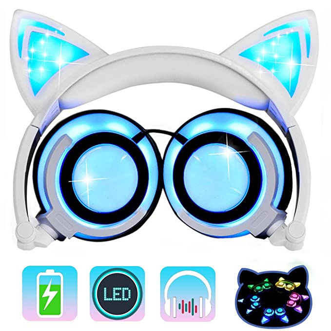 Amazon.com: Kids Headphones Cat Ear-Inspired,AMENON Wired On-ear ...
