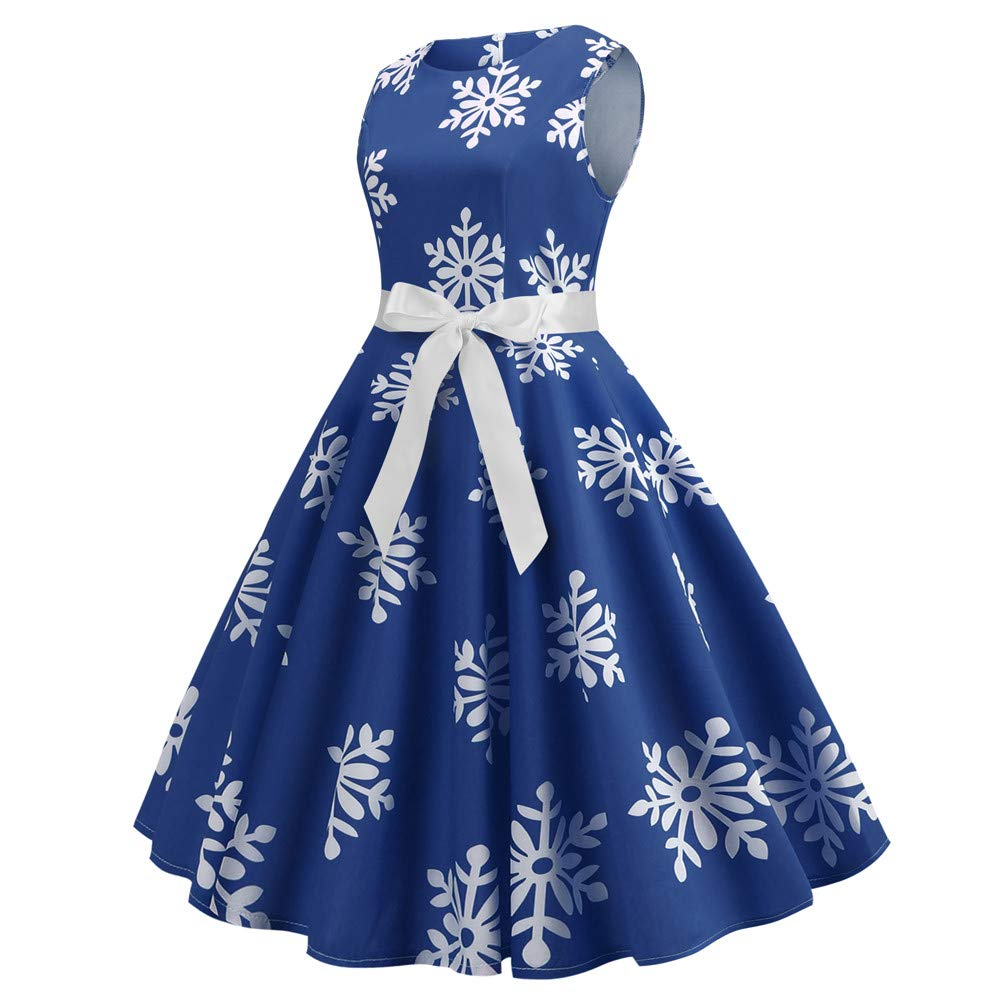 3835ace20640 Amazon.com: Christmas Dress,POTO Women Ladies Christmas Snow Printing  Vintage Gown Party Dress Prom Swing Dress: Clothing