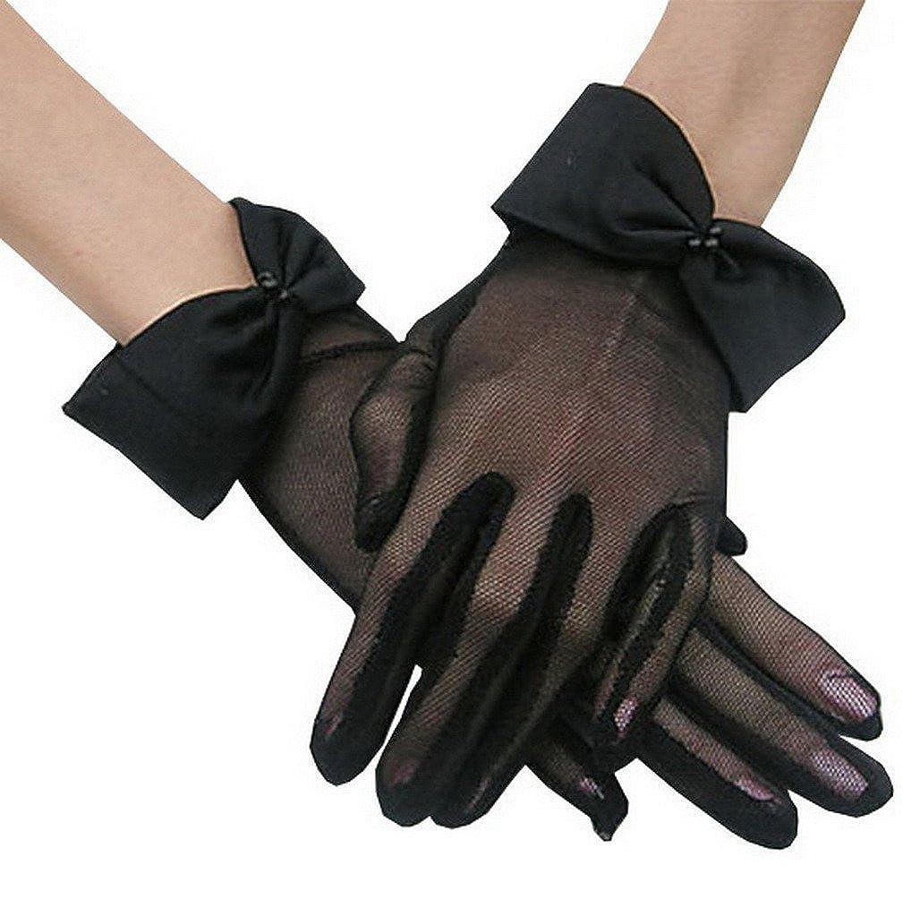 YiyiLai Schleife Deko Damen Hochzeit Handschuhe Netzhandschuh Braut Handschuhe YILINEFWZ151