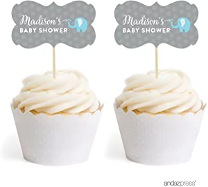 Andaz Press Personalized Birthday and Baby Shower Cupcake Toppers DIY Party Favors Kit, Boy Elephant, Double-Sided, 18-Pack, Custom Name