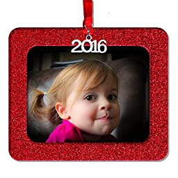 2016 Magnetic Glitter Christmas Photo Frame Ornaments, Horizontal - Red